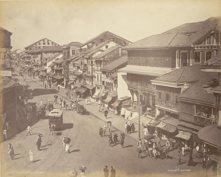Bombay Street Scene (Bhendy Bazar Road) : a general street scene with horse-drawn trams in Bombay (Mumbai) taken by Bourne & Shepherd in the 1880s, part of the Earl of Jersey Collection, 'India. Bombay to Madras' album.